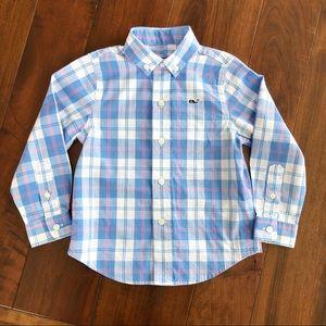 Vineyard Vines Blue/Pink Plaid Whale Shirt 2T